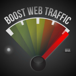 boost web traffic speedometer. illustration design over a black background