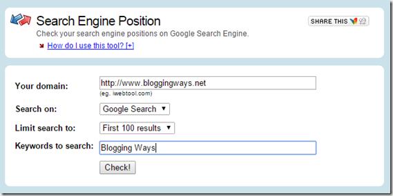 iwebtool search engine position checker